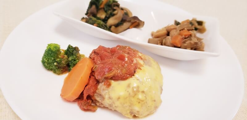 チーズハンバーグ野菜トマトソース